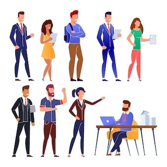 Cola de candidatos de trabajo de personas en dibujos animados de entrevista