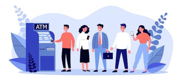 Cola de clientes bancarios de pie en cajeros automáticos