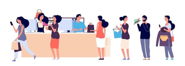 Cola de gente de compras. ilustración de vector de caja de tienda de moda. cajeros de piso y compradores con accesorios de ropa. cola de personas en tienda, mercado de tiendas