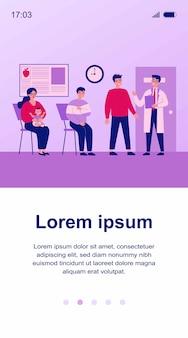 Cola de paciente sentado en la oficina del terapeuta en la clínica. personas que visitan al médico para su examen en el hospital. ilustración para médico, salud, medicina, concepto de salud