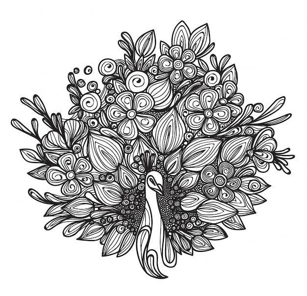 La cola del pavo real del arte del tatuaje es un dibujo a mano flor aislado