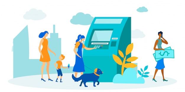 Cola de personas en cajeros automáticos para dibujos animados de transacciones