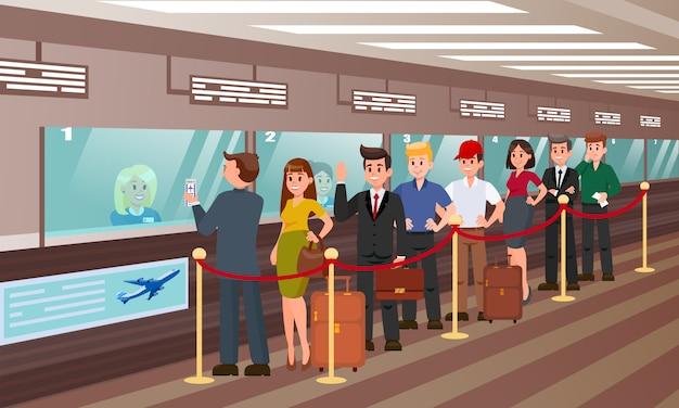 Cola para el registro de embarque ilustración plana.