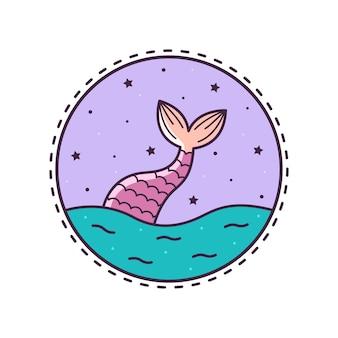 La cola de sirena. ilustracion vectorial