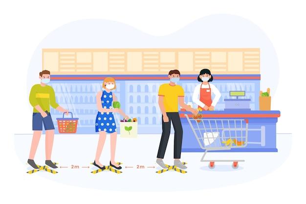 Cola de supermercado con distancia de seguridad