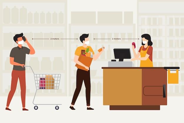 Cola de supermercado con ilustración de distancia de seguridad