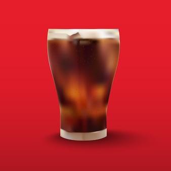 Cola en vaso sobre rojo