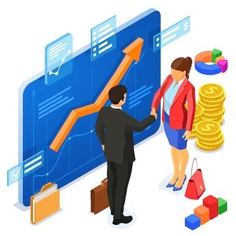 Colaboración de asociación con empresario y empresaria de apretón de manos