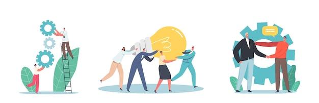 Colaboración en equipo de personajes de negocios, trabajo en proyecto o idea creativa. pequeños empleados masculinos y femeninos con enorme lámpara y engranajes trabajo en equipo en el lugar de trabajo de oficina. ilustración de vector de gente de dibujos animados