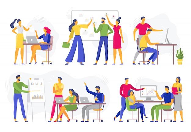 Colaboración en equipo. reunión de taller de trabajo en equipo, lluvia de ideas creativas y equipos de trabajadores de oficina conjunto de ilustración plana