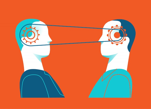 Colaboración y sinergia. las mentes conectadas de dos personas.