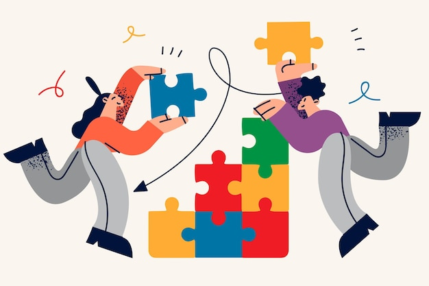 Colaboración, trabajo en equipo, cooperación en concepto de negocio. dibujos animados de socios comerciales jóvenes haciendo piezas de rompecabezas enteras alcanzando objetivos juntos
