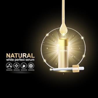 Colágeno o suero gota de oro y efecto de luz para la reparación de la piel por vectores