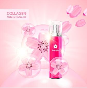 Colágeno y suero de sakura para productos de belleza.