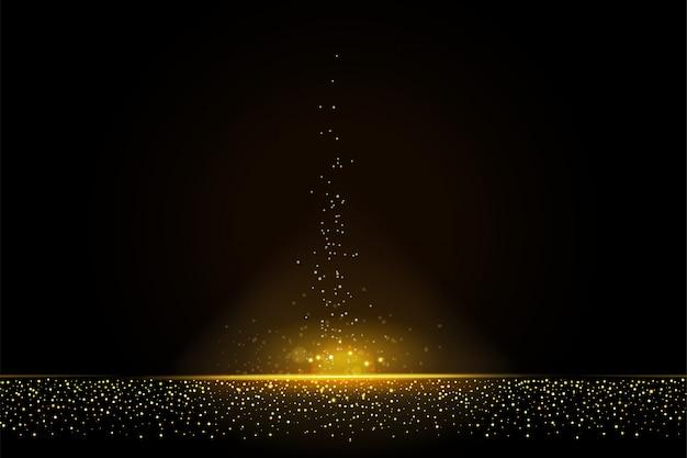 Colas de polvo reluciente en fondo abstracto brillante brillo dorado