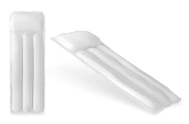 Colchón de agua inflable para vista superior y en ángulo de la piscina, maqueta de accesorios de goma