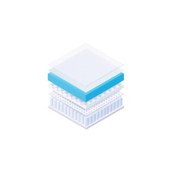 Colchón de cama en capas interiores: corte cuadrado de materiales para dormir cómodamente en la cama. espuma de memoria, tejido de algodón, superficie transpirable - rellenos de muebles aislados sobre fondo blanco,