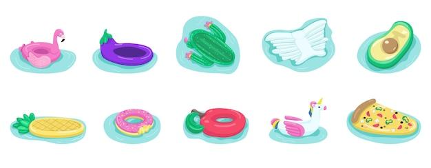 Colchones de aire plano conjunto de objetos de color. anillos de goma para niños. equipamiento de playa. accesorios para vacaciones en el mar. piscina inflable juguetes 2d aislados ilustraciones de dibujos animados sobre fondo blanco.