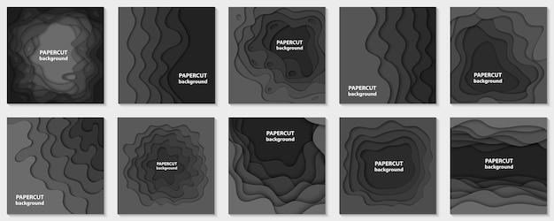 Colección de 10 fondos con formas de corte de papel negro.