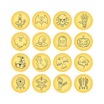 Colección de 16 iconos de halloween boceto círculo. ilustración.