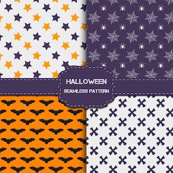 Colección de 4 patrones de halloween con textura infinita. el fondo vectorial se puede utilizar para papel tapiz, rellenos, páginas web, superficies, álbumes de recortes, tarjetas navideñas, invitaciones y diseño de fiestas.