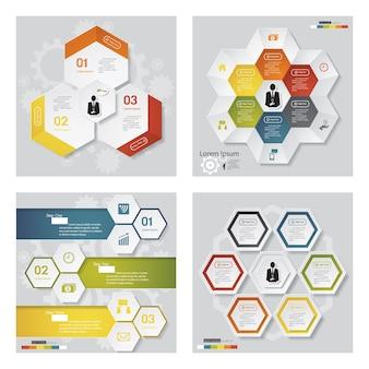 Colección de 4 plantillas de diseño de varios colores