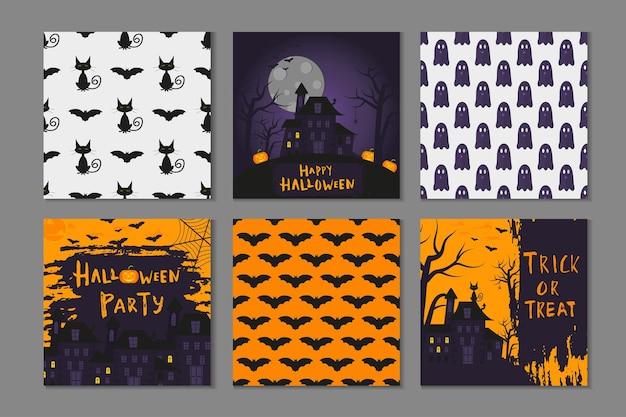 Colección de 6 diseño de carteles de feliz halloween con símbolos tradicionales y letras dibujadas a mano. la ilustración del vector se puede utilizar para el papel pintado, la página web, la tarjeta del día de fiesta, la invitación y el diseño del partido.