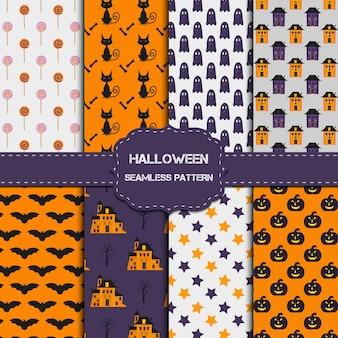 Colección de 8 patrones de halloween con textura infinita. el fondo vectorial se puede utilizar para papel tapiz, rellenos, páginas web, superficies, álbumes de recortes, tarjetas navideñas, invitaciones y diseño de fiestas.