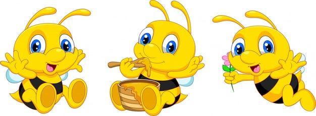 Colección de abejas divertidos dibujos animados