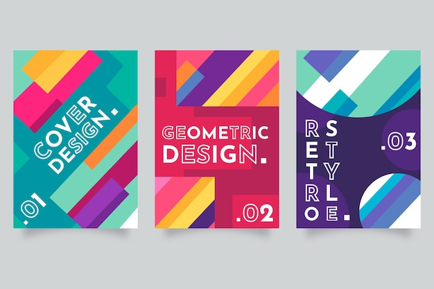 Colección abstracta colorida cubierta geométrica