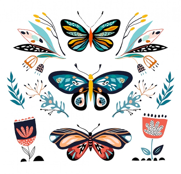 Colección abstracta con diferentes mariposas y plantas, aisladas