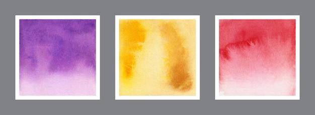 Colección abstracta de fondo acuarela violeta, amarillo y rojo