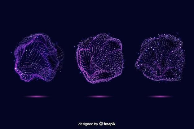 Colección abstracta de forma de partícula púrpura