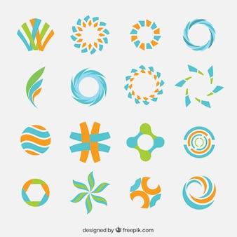Colección abstracta logotipos de color
