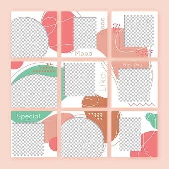 Colección abstracta de publicaciones de feed de rompecabezas de instagram