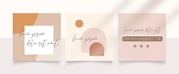Colección abstracta de publicaciones de instagram en estilo minimalista