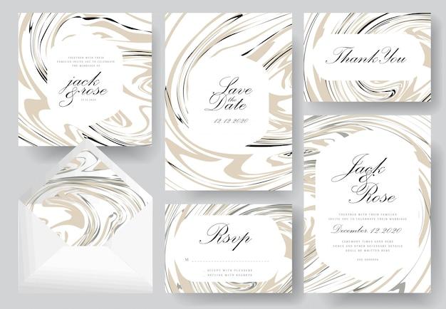 Colección abstracta de tarjetas de invitación de boda