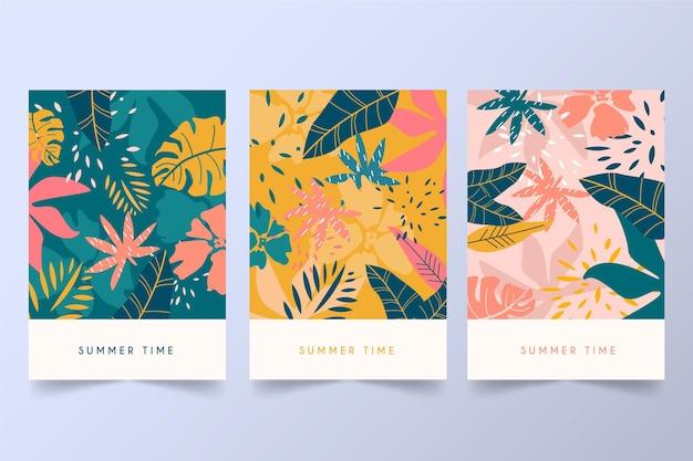 Colección abstracta de tarjetas tropicales