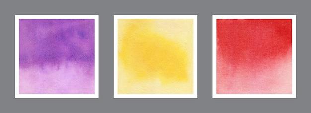 Colección abstracta de la textura del fondo de la acuarela violeta, amarilla y roja