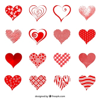Colección de abstractas corazones rojos