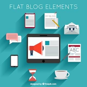 Colección de accesorios para blog en diseño plano