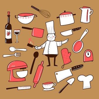 Colección de accesorios de cocina dibujados a mano.