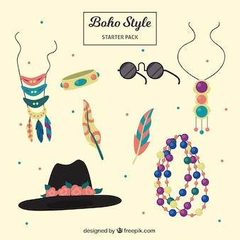 Colección de accesorios de moda en estilo boho