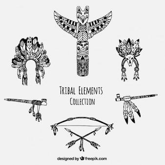 Colección de accesorios tribales dibujados a mano