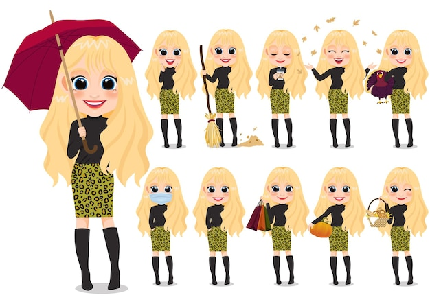 Colección de actividades al aire libre de personajes de dibujos animados de niña de otoño con suéter negro y falda de patrón de leopardo, cabello rubio miel, dibujos animados aislados sobre fondo blanco ilustración vectorial