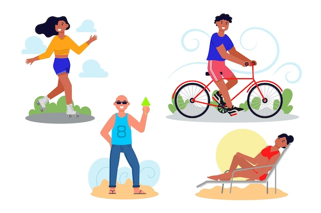 Colección de actividades al aire libre de verano en diseño plano