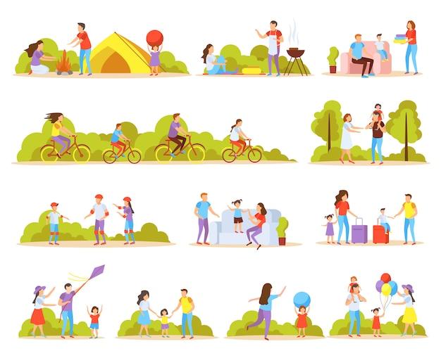 Colección de actividades familiares.