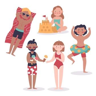 Colección actividades de la gente de la playa