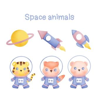 Colección de acuarela de animales espaciales dibujados a mano