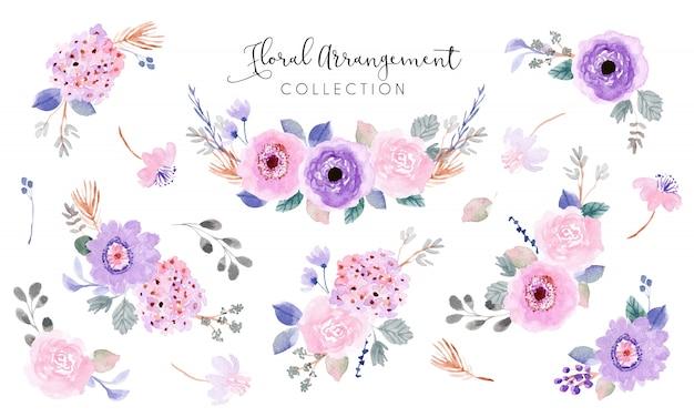 Colección de acuarela de arreglo floral rosa púrpura suave